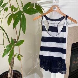 GARAGE Blue White Striped Lace Tank Top